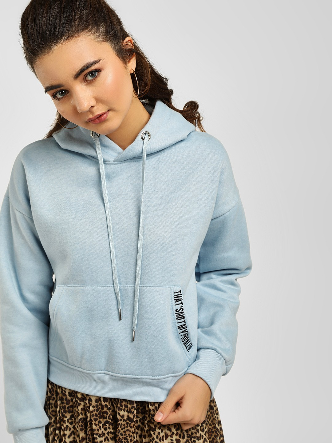 Origami Lily Blue Slogan Detail Hooded Sweatshirt 1