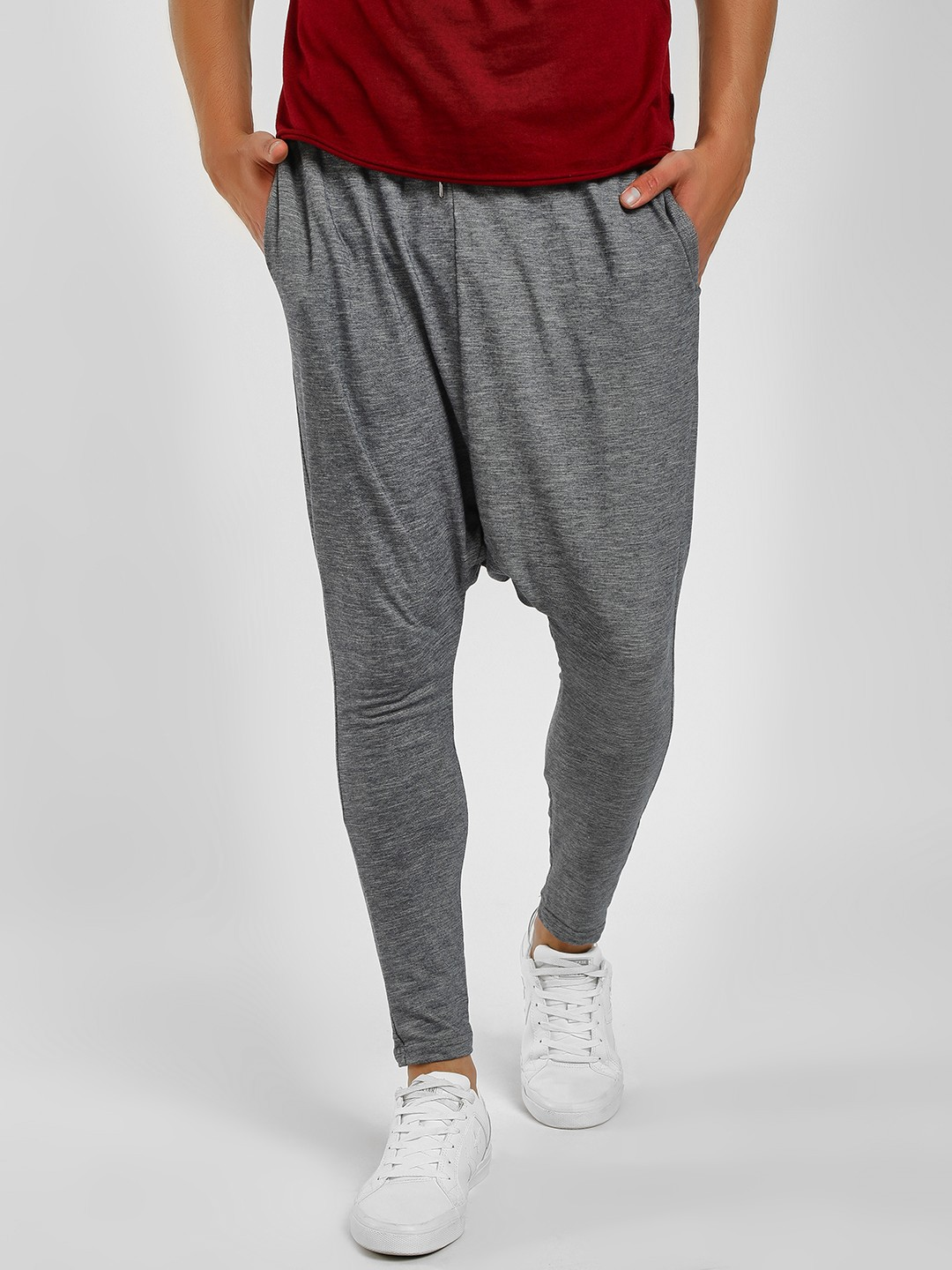 Fighting Fame Navy Blue Drop Crotch Skinny Joggers 1