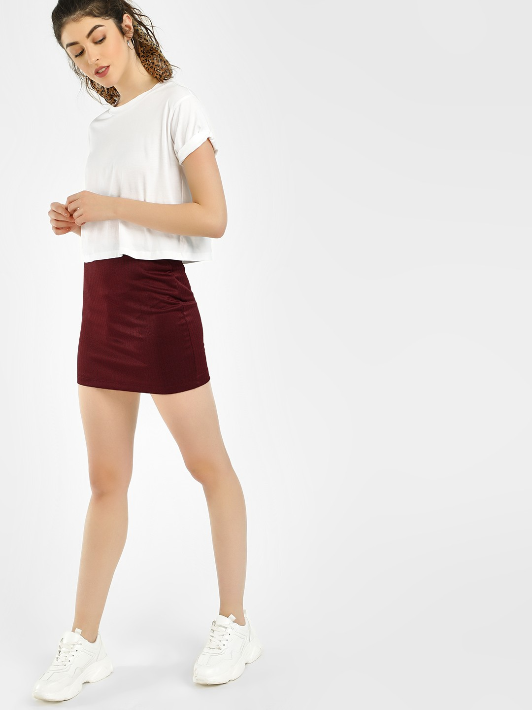 KOOVS Maroon Herringbone Mini Skirt 1