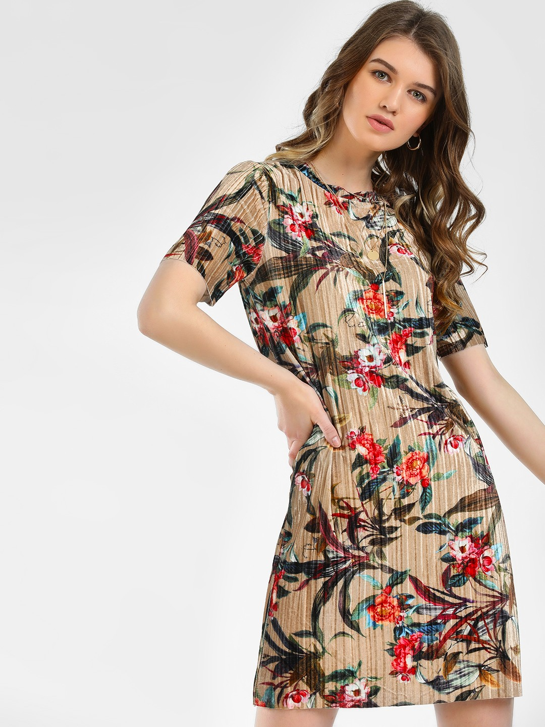 KOOVS Multi Velour Tropical Print Shift Dress 1