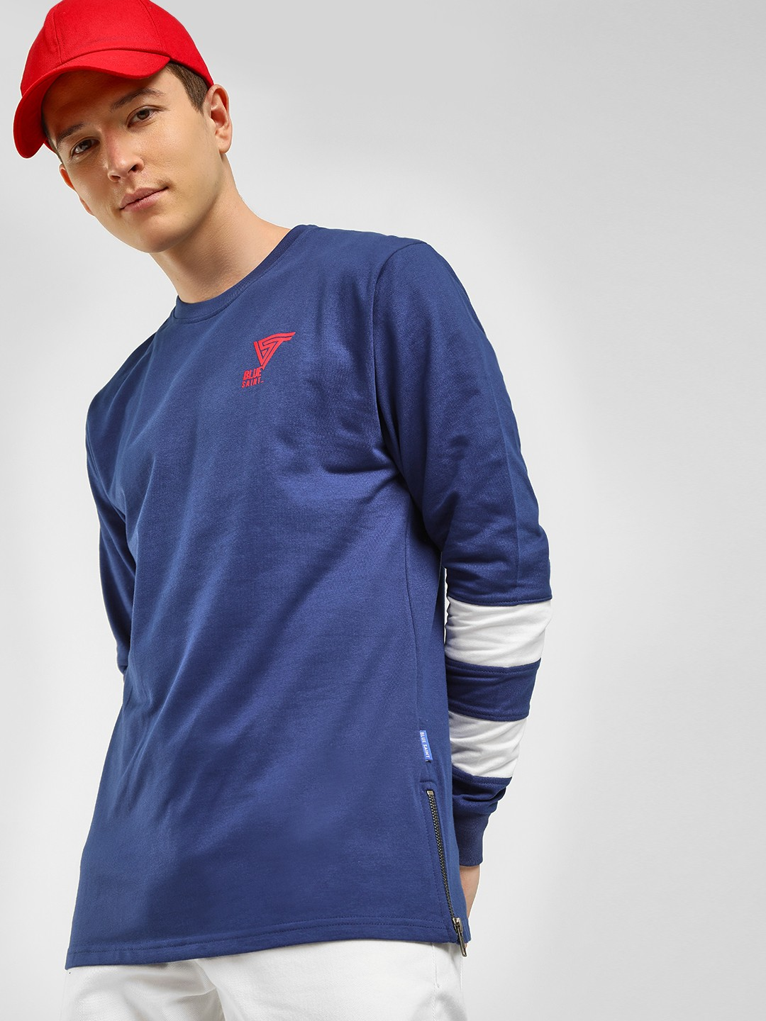 Blue Saint Blue Striped Sleeve Sweatshirt 1