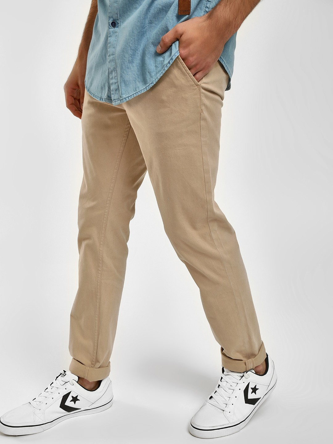 Blue Saint Beige Basic Slim Fit Chinos 1