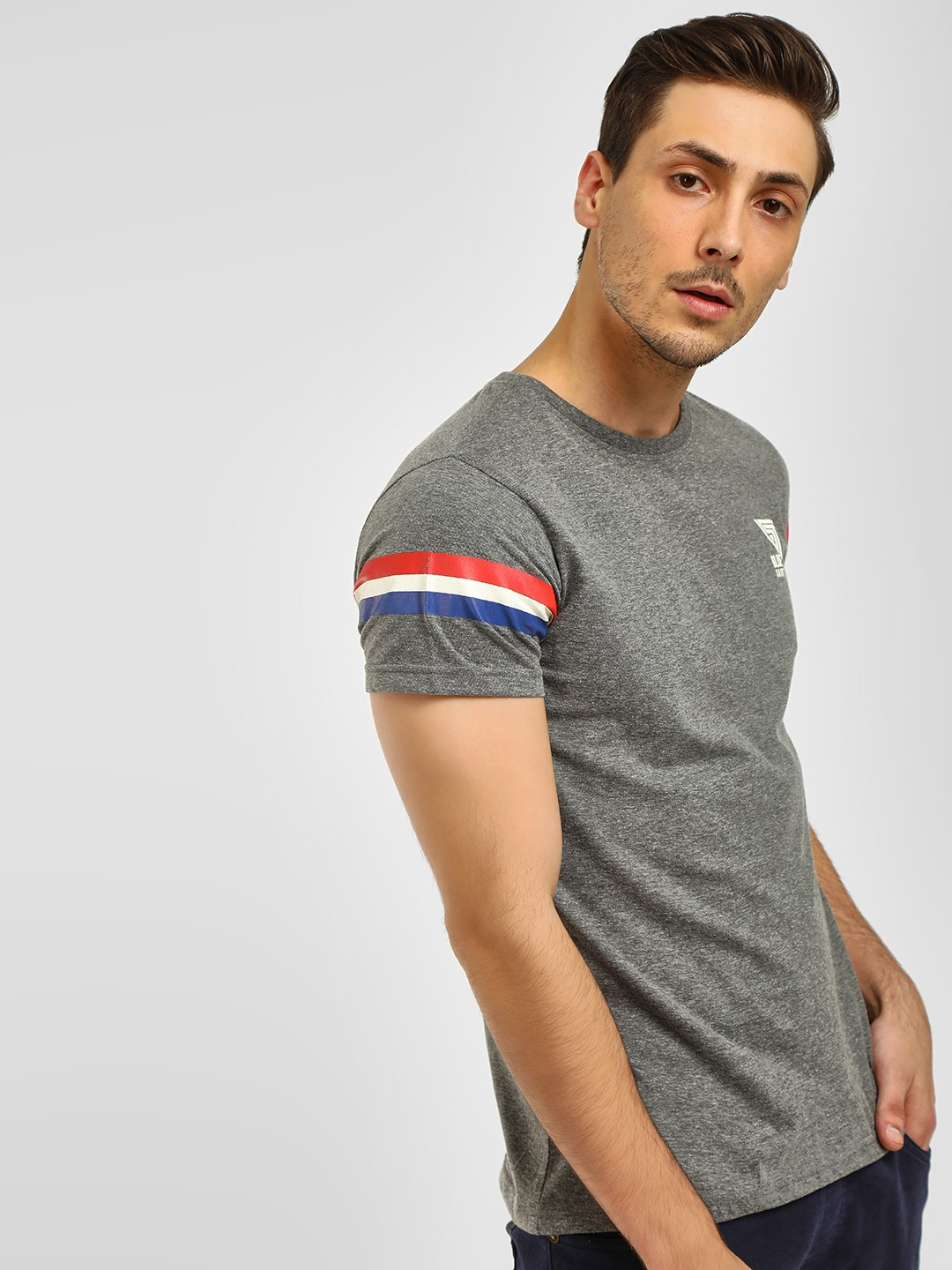Blue Saint Grey Sleeve Striped T-Shirt 1