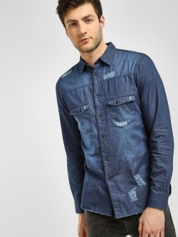 Blue Saint Light Distressed Denim Shirt