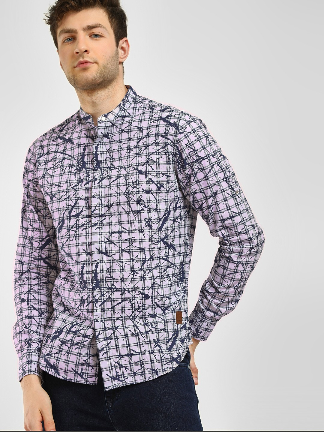 Blue Saint Blue Checkered Splatter Print Shirt 1