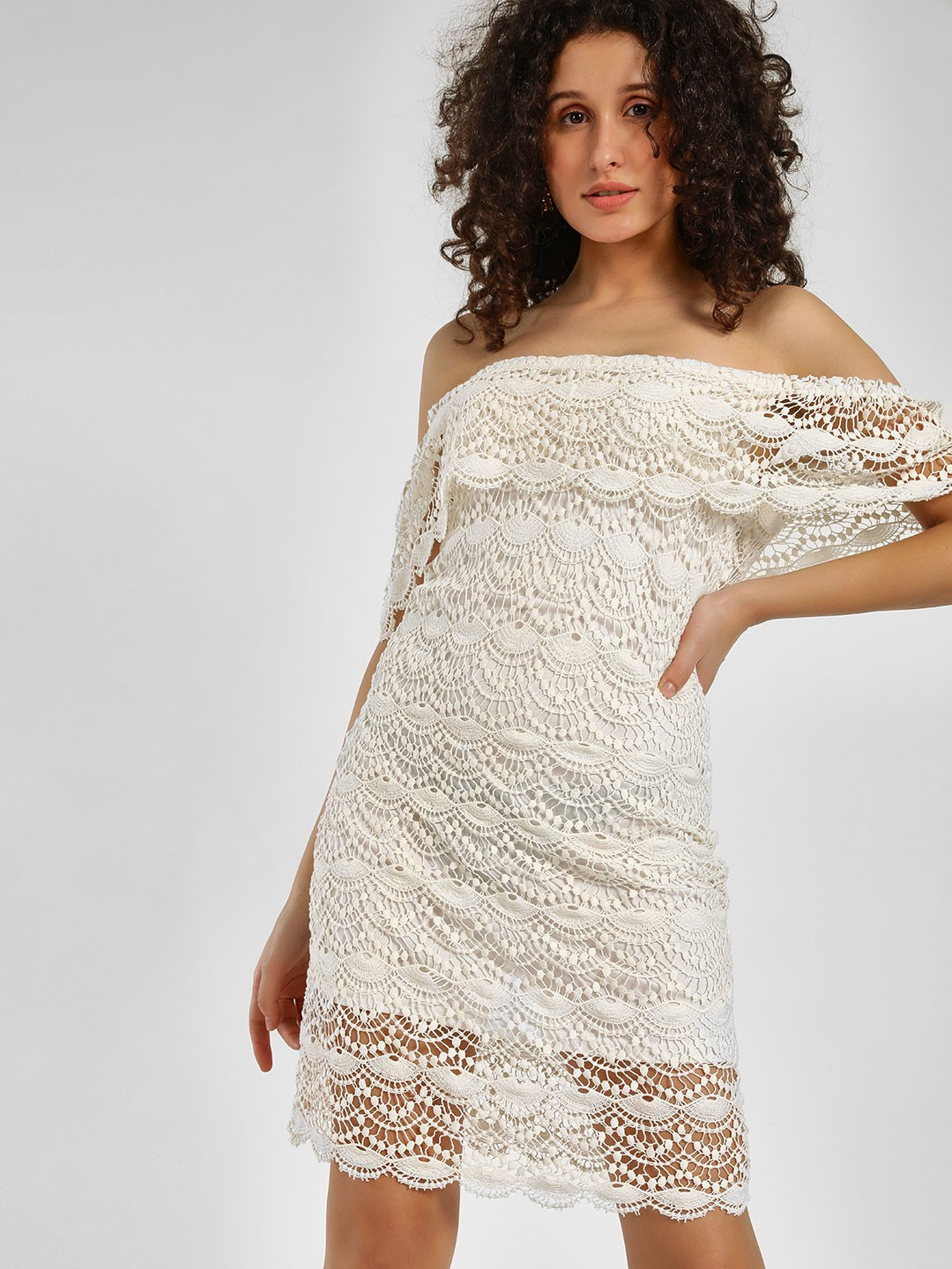 KOOVS Ivory Lace Mini Off-Shoulder Dress 1