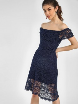 KOOVS Lace A-Line Bardot Dress