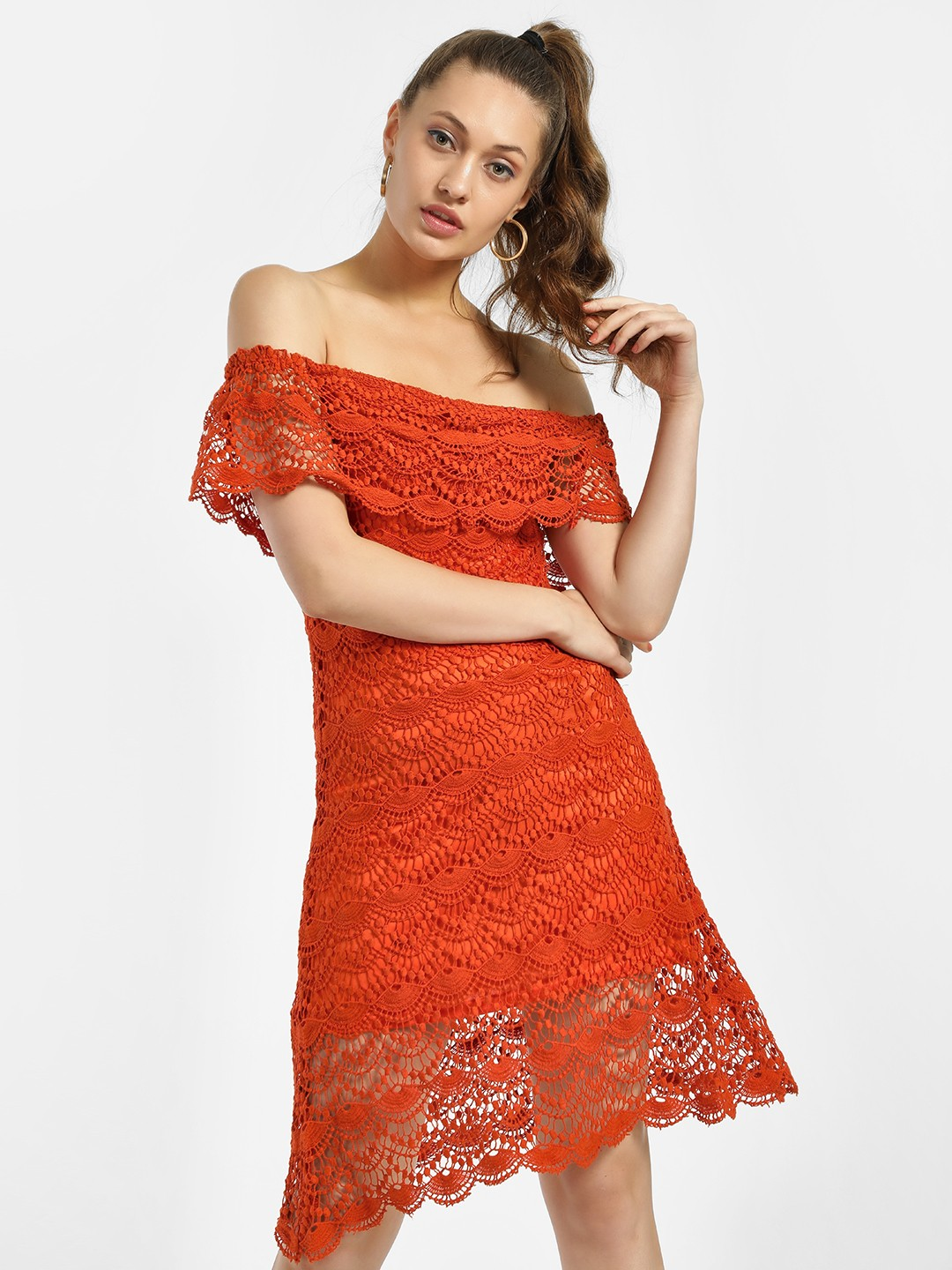 KOOVS Orange All Over Lace Off-Shoulder Dress 1