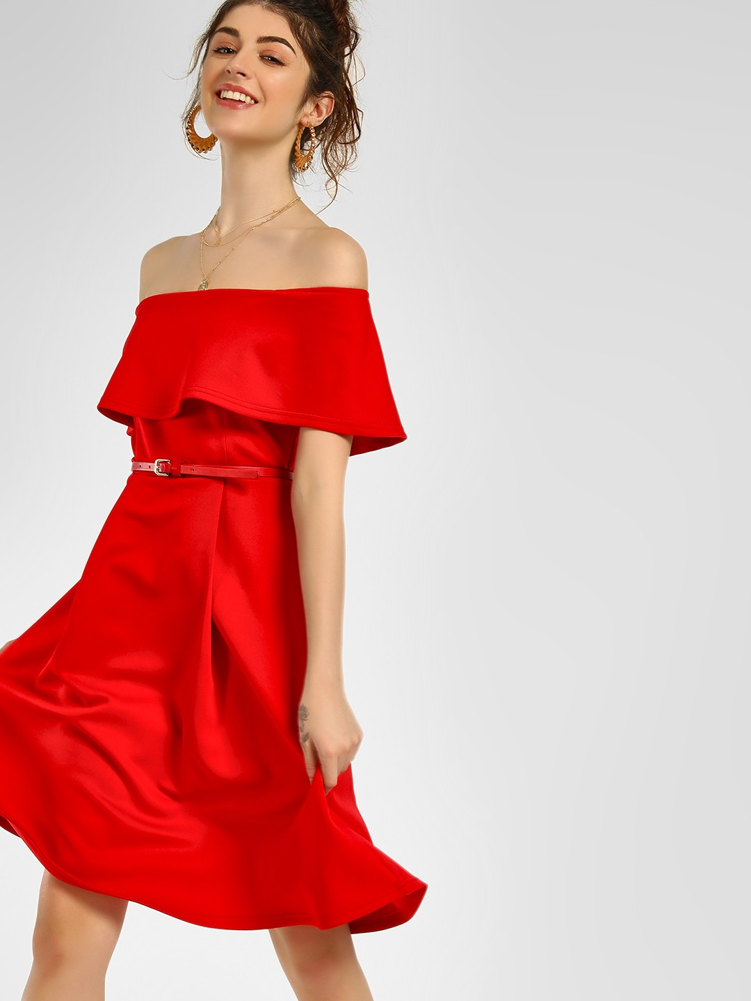 KOOVS Red Basic Skater Off-Shoulder Dress 1