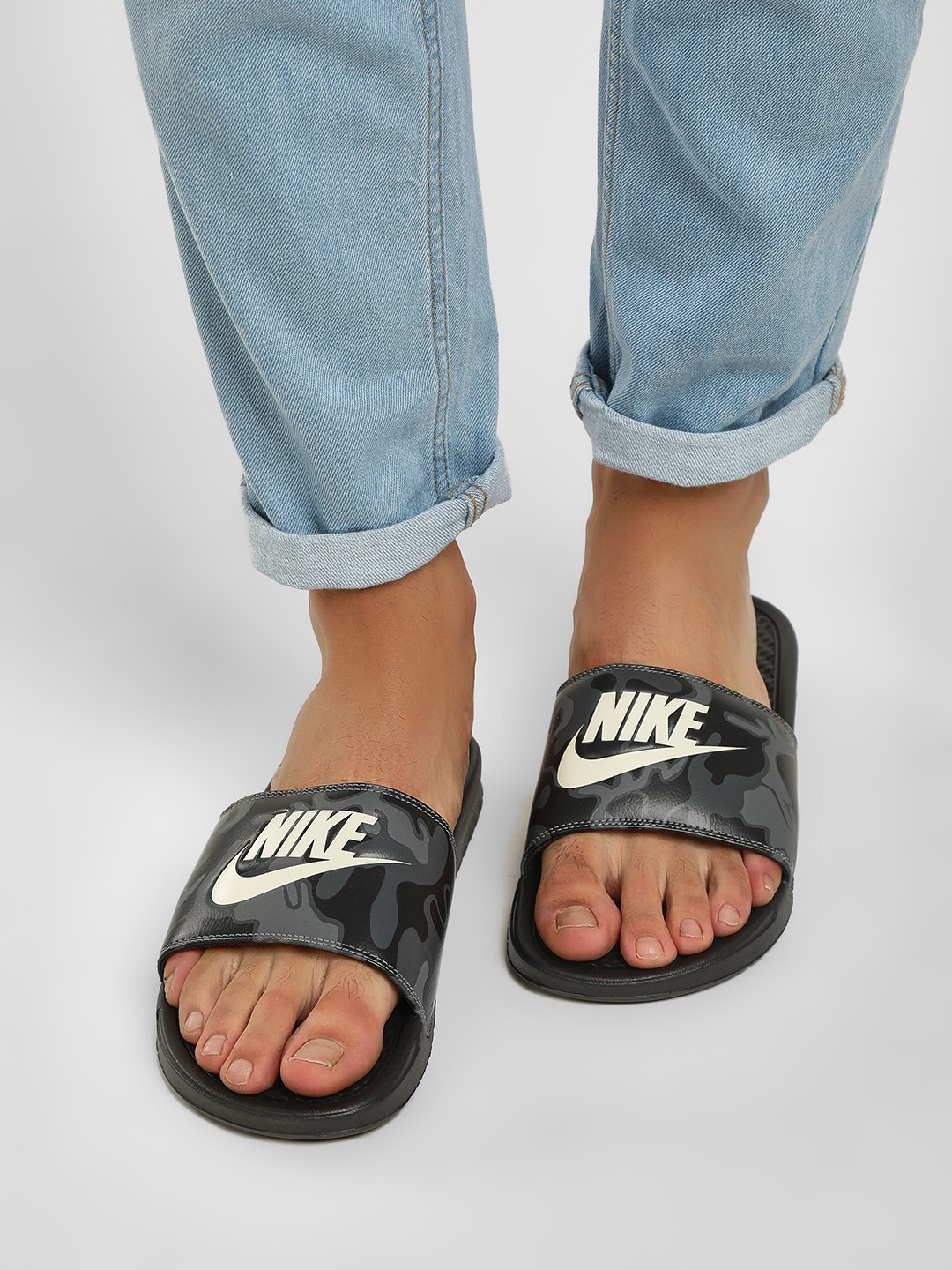 Nike Black Benassi Just Do It Print Sliders 1