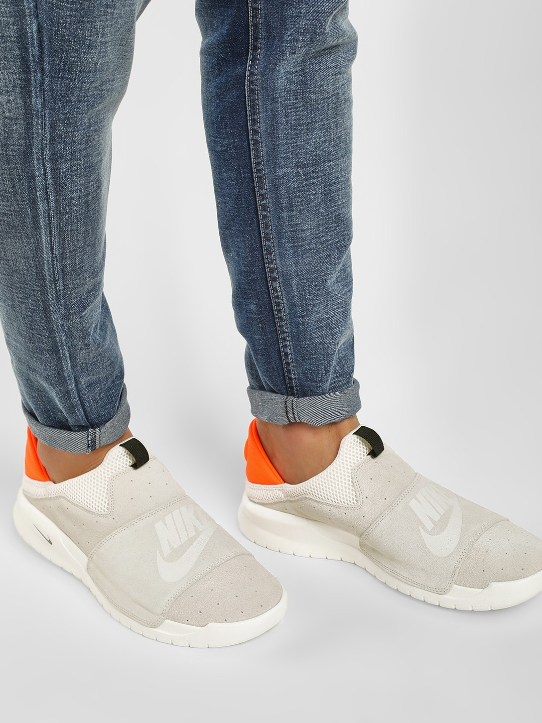 Nike White Benassi Slip-On Shoes 1