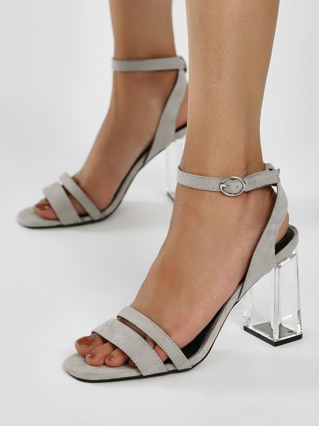 New Look Grey Suede Clear Block Heeled Sandals 1