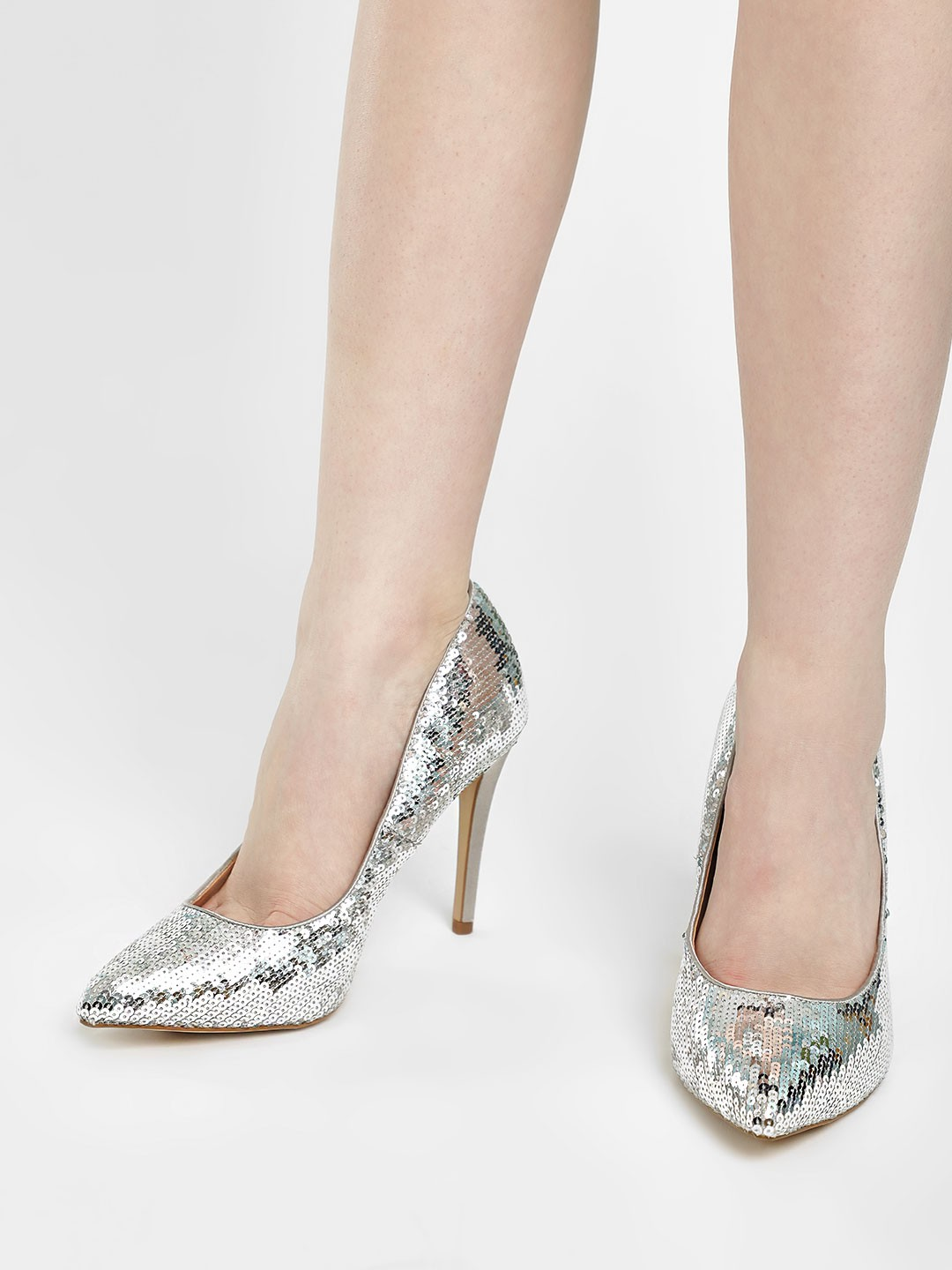New Look Silver Sequined Pointed Court Pumps 1