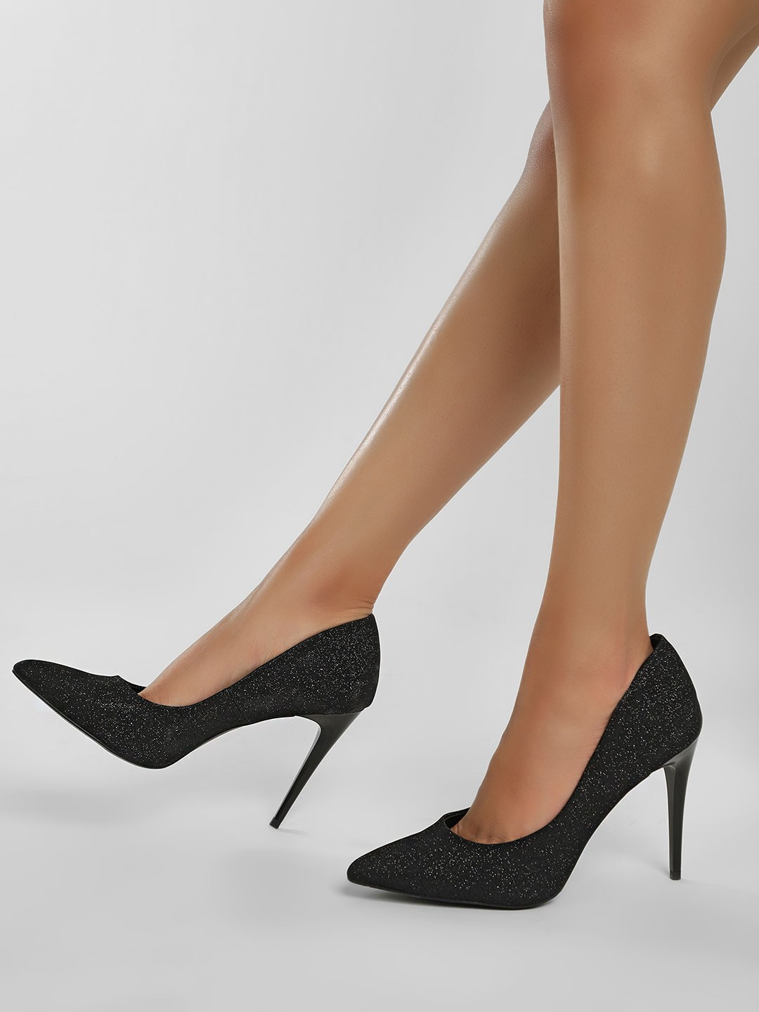 New Look Black Glitter Pointed Court Pumps 1
