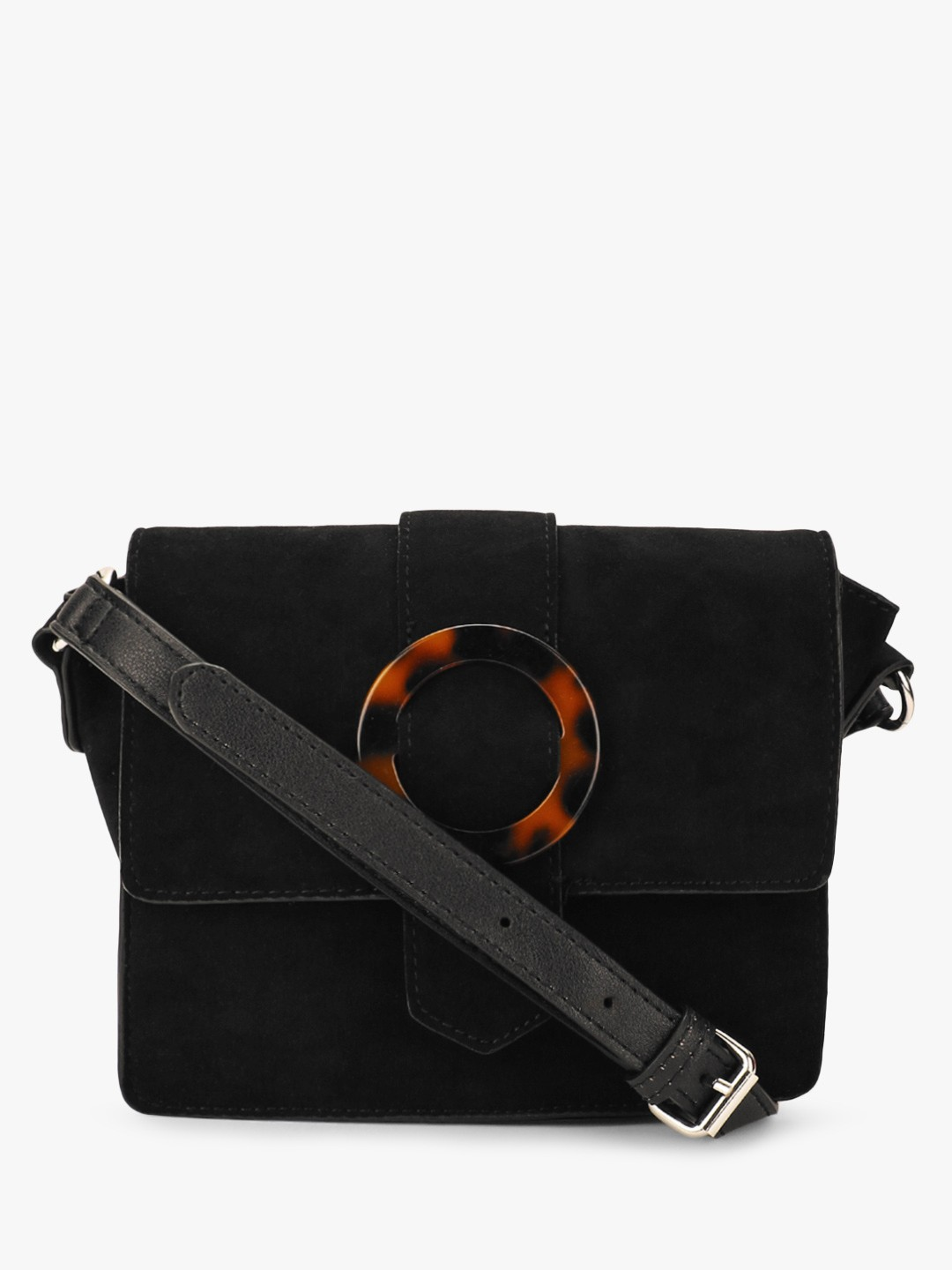 New Look Black Tortoise Shell Buckle Sling Bag 1