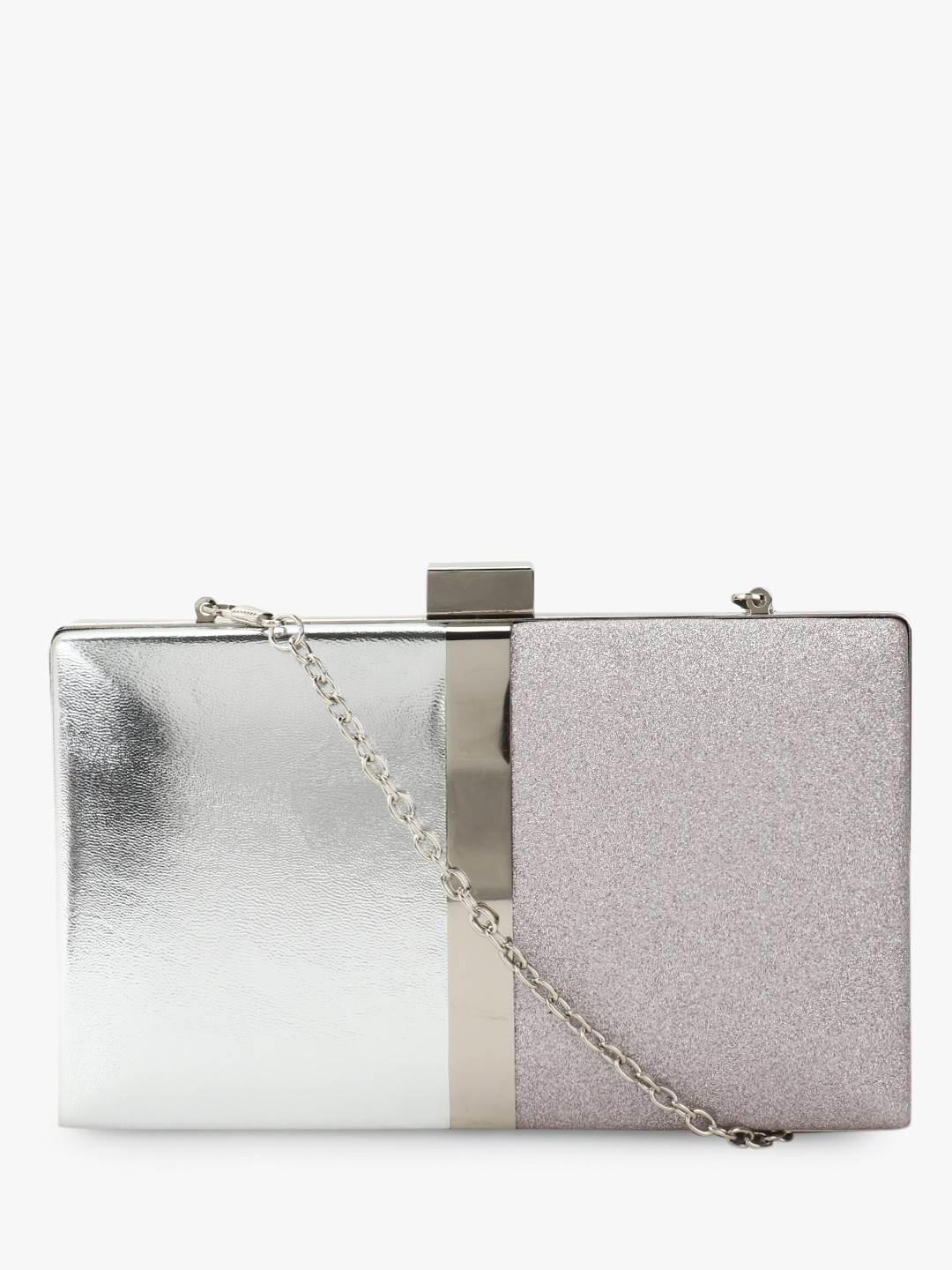 New Look Silver Colour Block Metallic Box Clutch 1