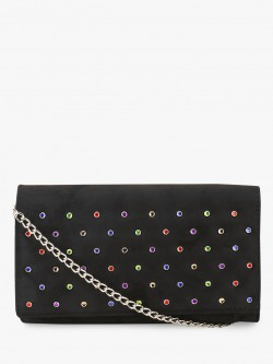 New Look Rainbow Rhinestone Suede Clutch
