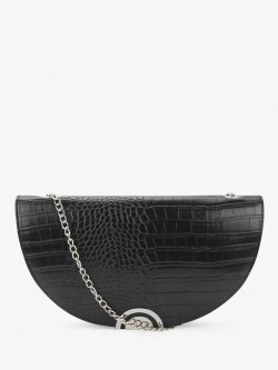 New Look Crocskin Half Moon Clutch