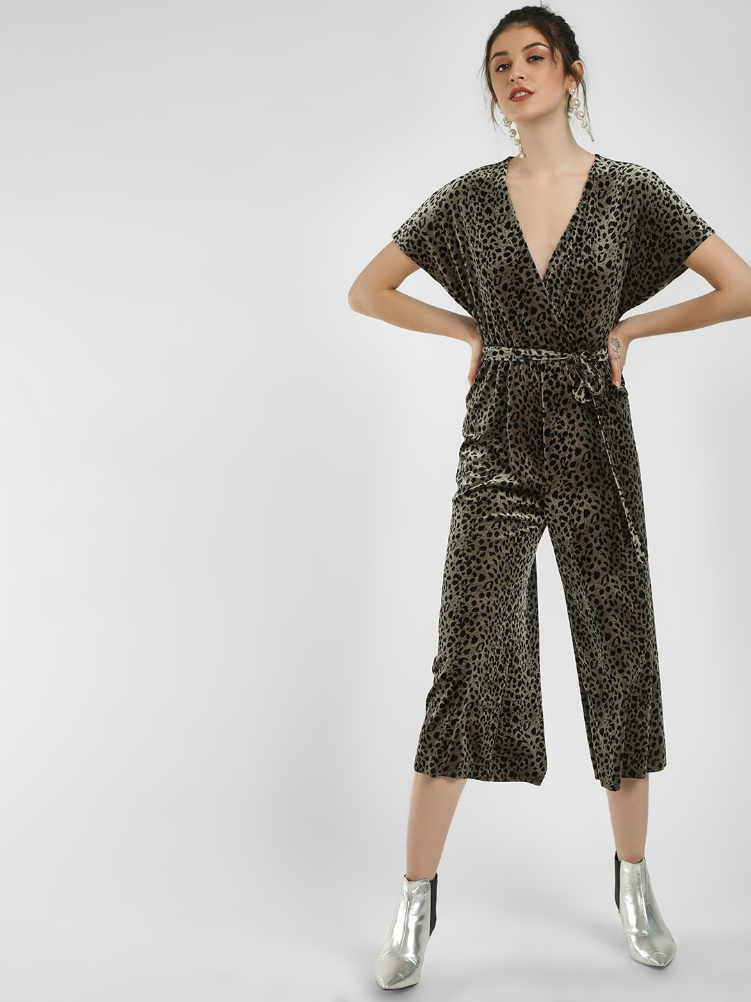 New Look Green Leopard Print Velvet Jumpsuit 1