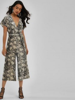New Look Snake Print Velvet Jumpsuit