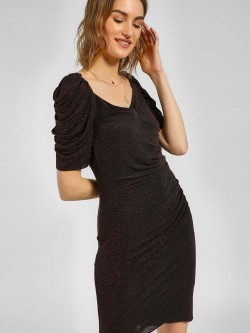 Cover Story Shimmer Ruched Sleeve Bodycon Dress
