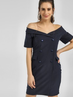 Cover Story Tuxedo Mini Off-Shoulder Dress