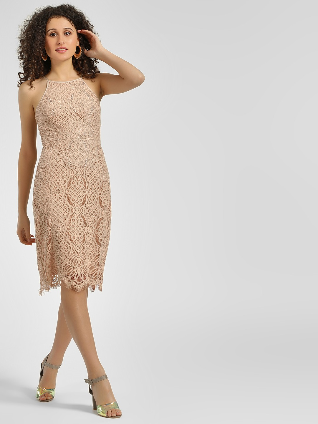 Cover Story Beige Lace Strappy Bodycon Dress 1