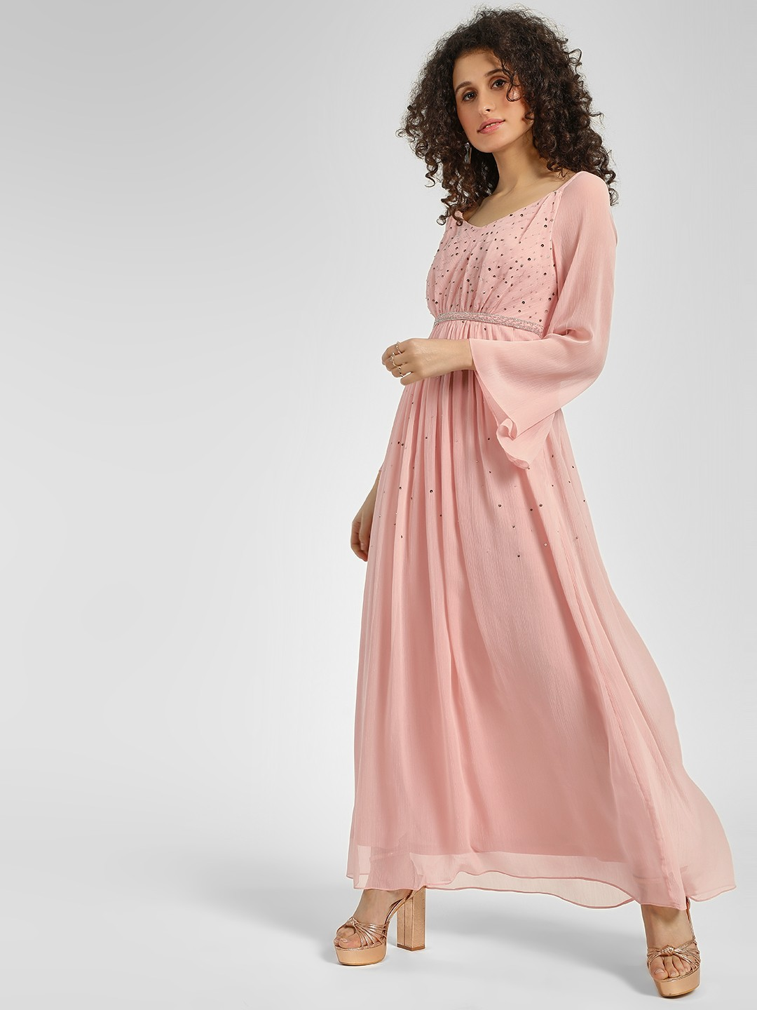 Cover Story Dusty Pink Sequin Embellished Maxi Dress 1