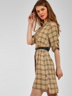 Cover Story Check Print Shirt Dress
