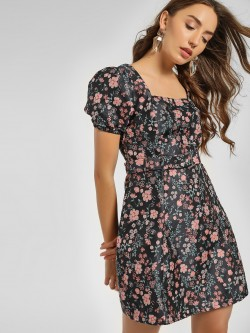 Cover Story Floral Jacquard Skater Dress
