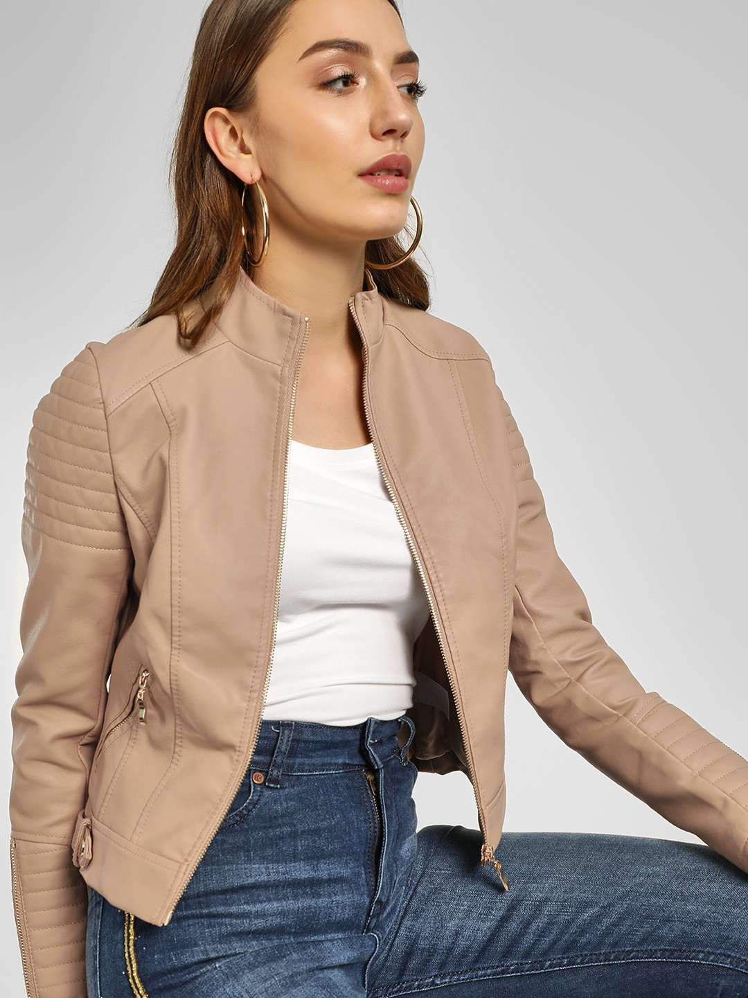 Cover Story Beige Quilted Panel Biker Jacket 1
