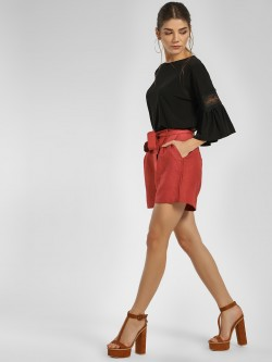 Cover Story High Waist Front Knot Shorts