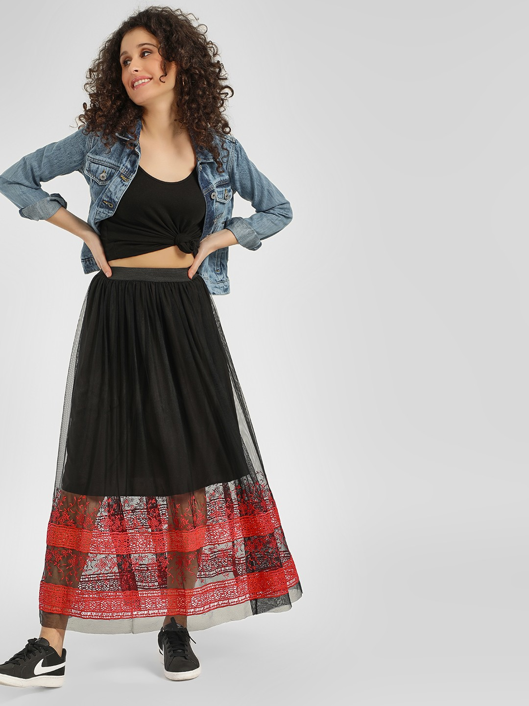 Cover Story Black Lace Embroidered Maxi Skirt 1