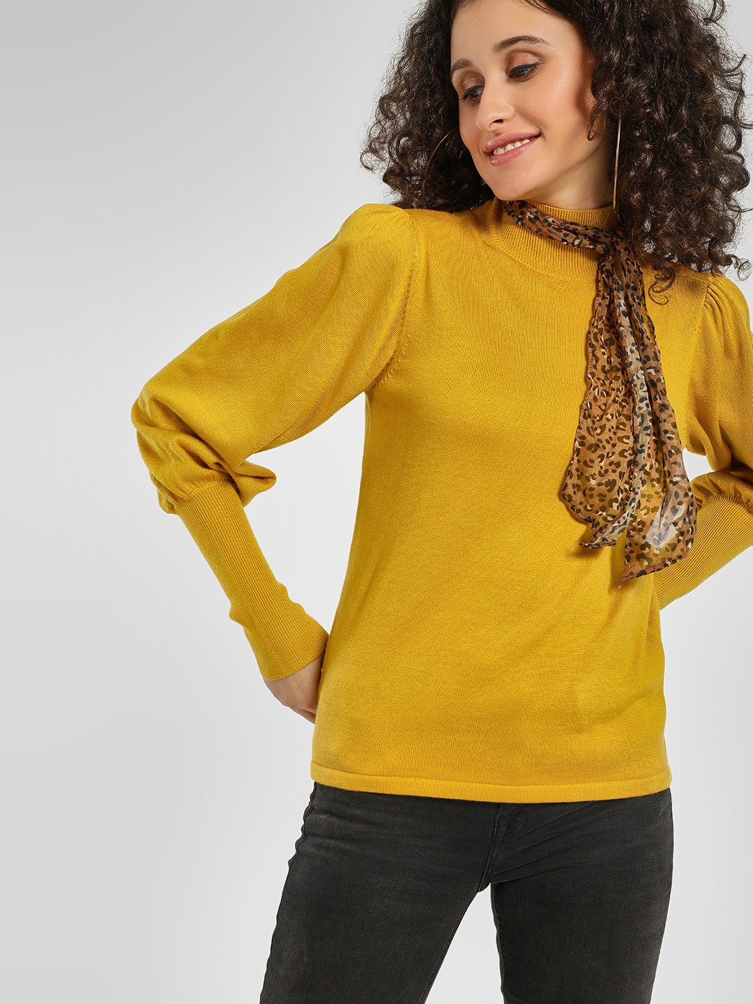 Cover Story Mustard Turtleneck Mutton Sleeve Pullover 1