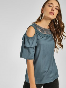 Cover Story Crochet Lace Cold Shoulder Top