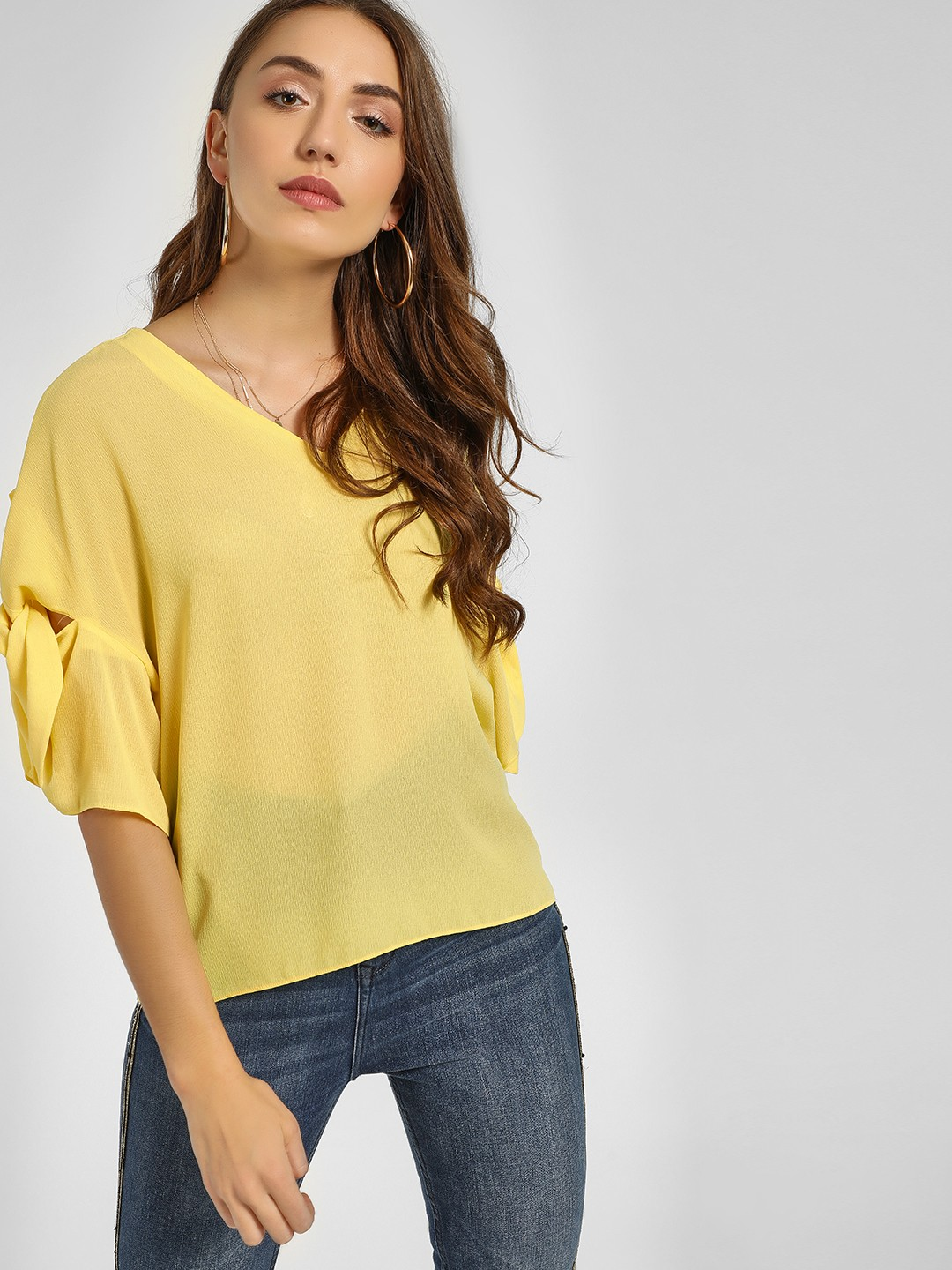 Cover Story Yellow Knot Flared Sleeve Blouse 1