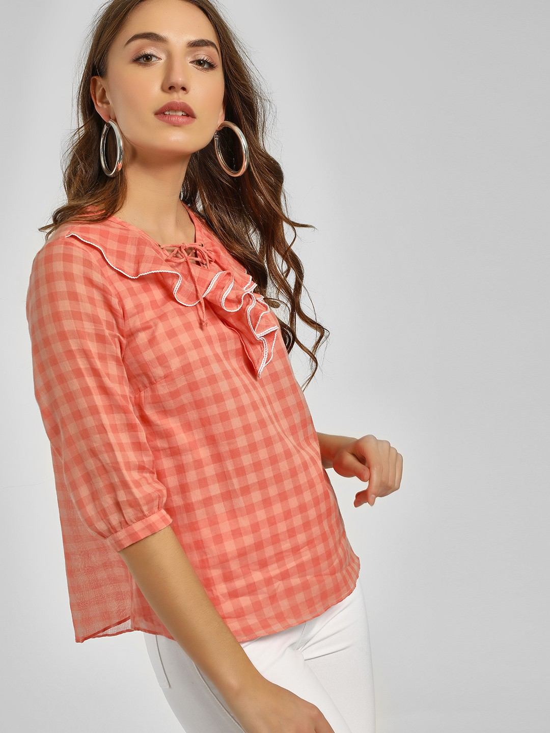Cover Story Pink Check Ruffled Neck Blouse 1