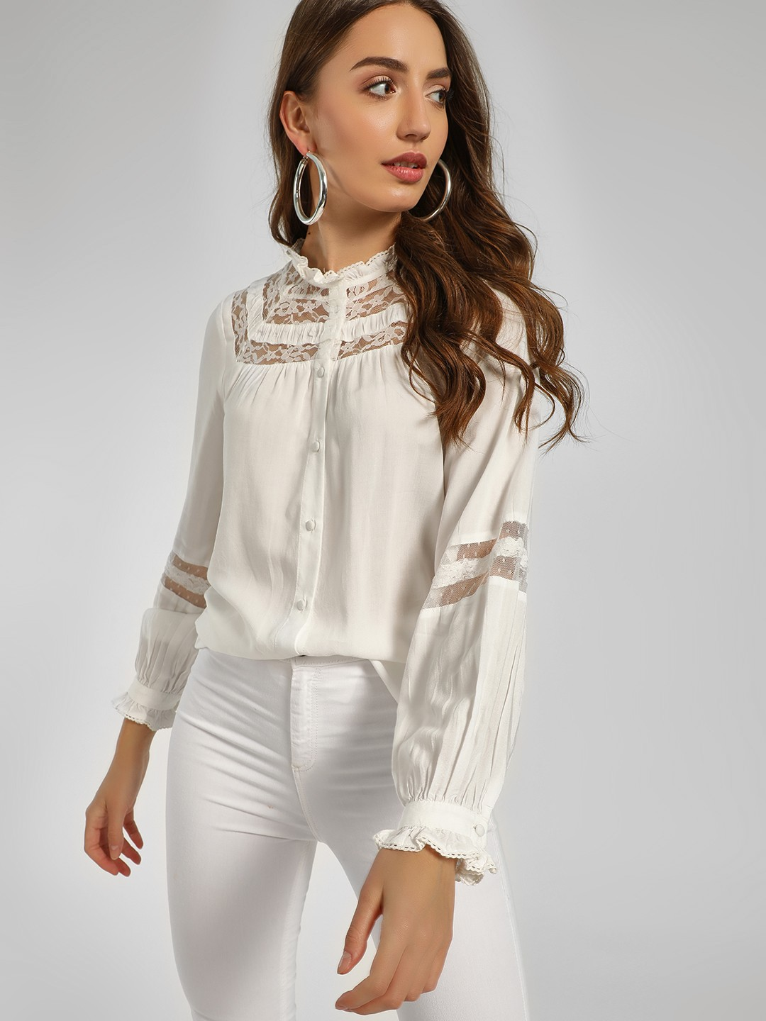 Cover Story White Ruffled Lace Neck Blouse 1