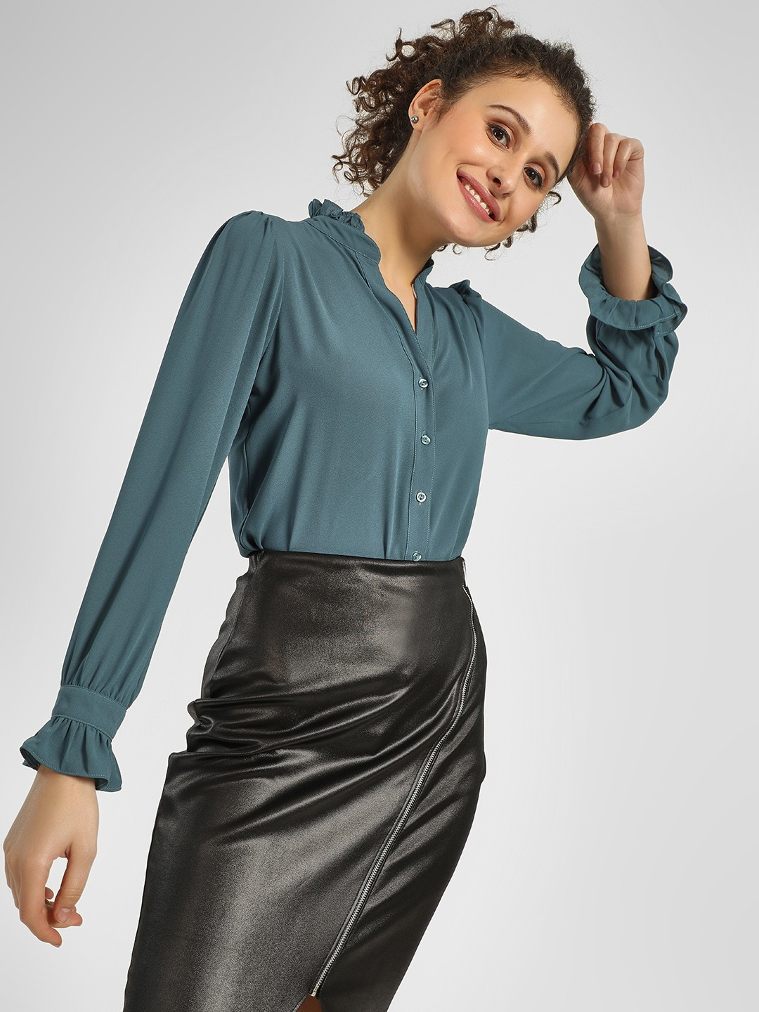 Cover Story Teal Ruffled Mandarin Collar Shirt 1