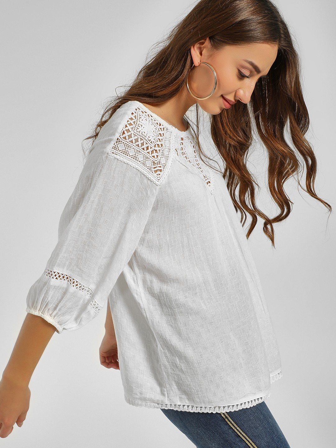 Cover Story White Crochet Lace Trim Blouse 1