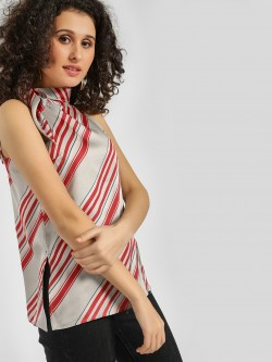 Cover Story Striped Tie-Neck Sleeveless Blouse