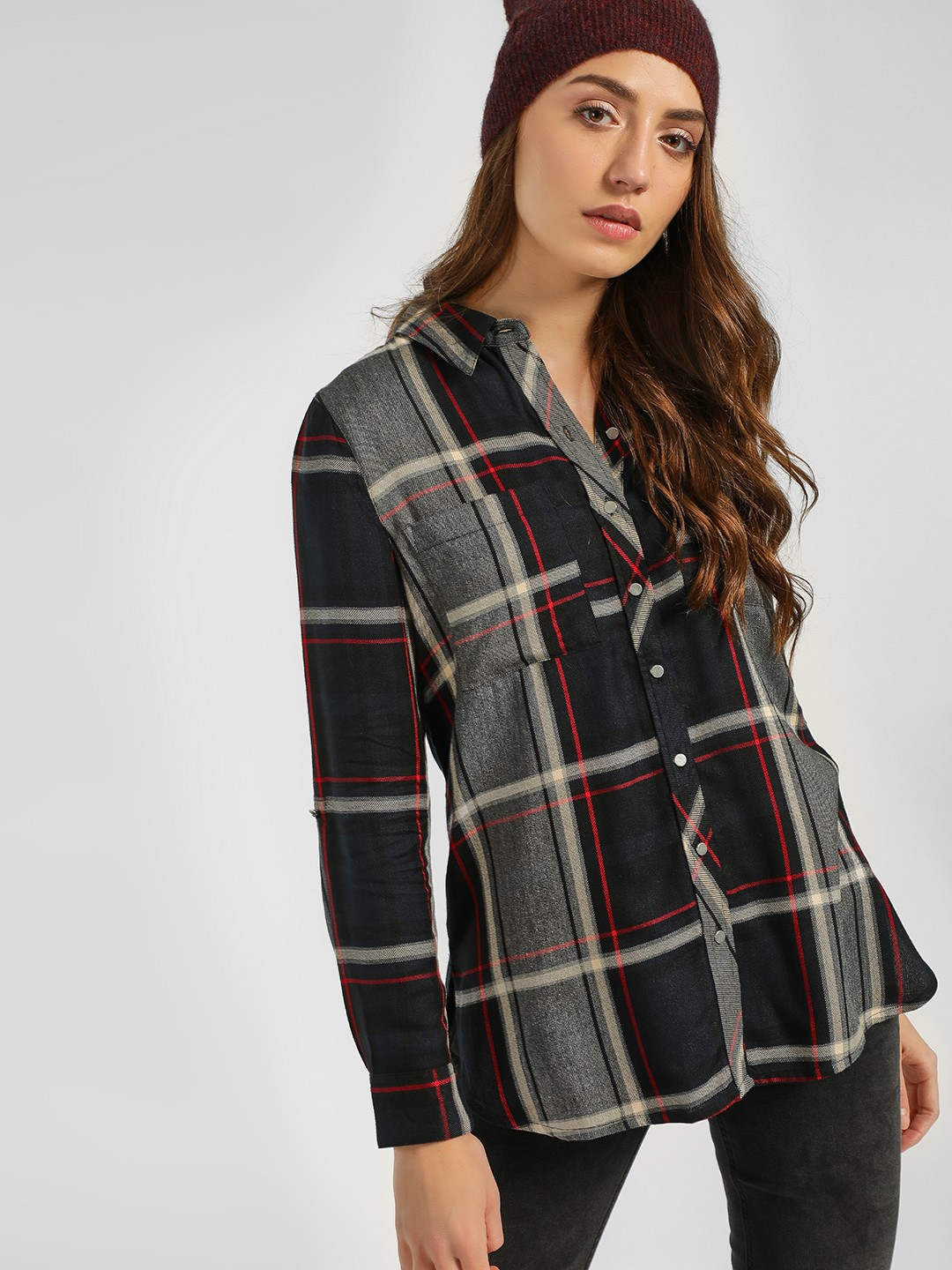 Cover Story Navy Multi-Check Longline Shirt 1