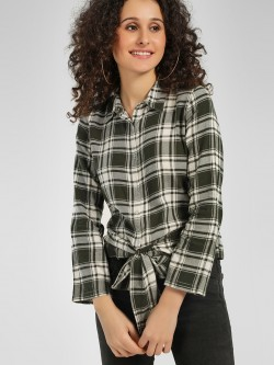 Cover Story Woven Checkered Front Tie-Up Shirt