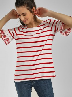 Cover Story Striped Flared Sleeves T-Shirt