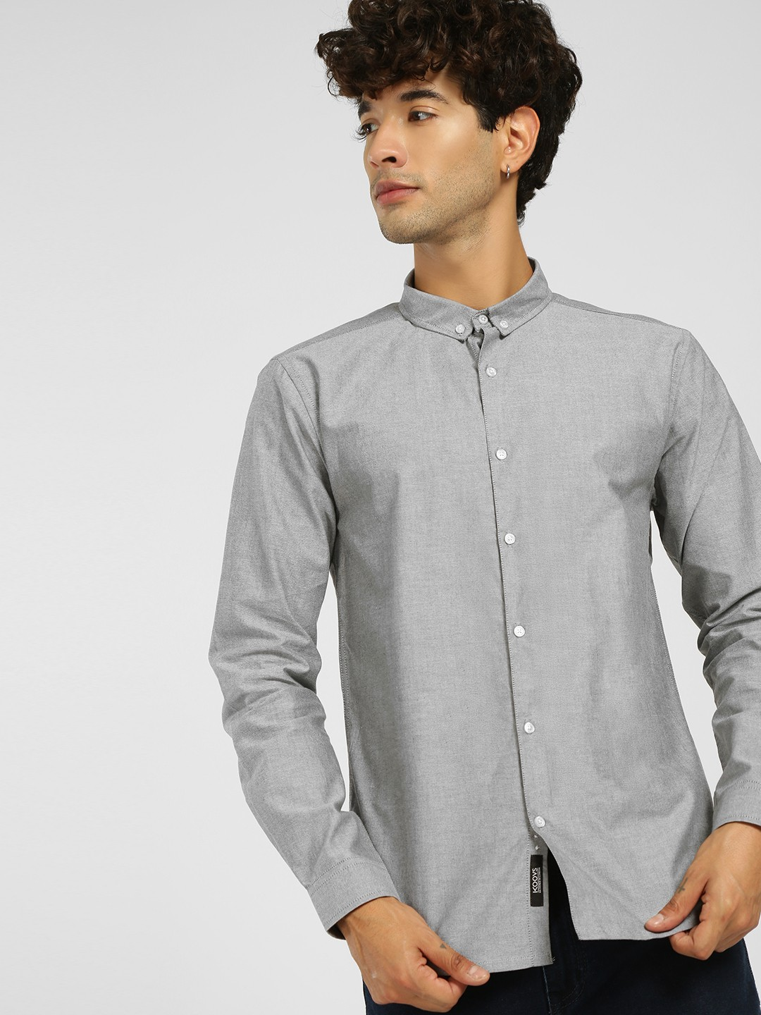 KOOVS Grey Oxford Long Sleeve Shirt 1