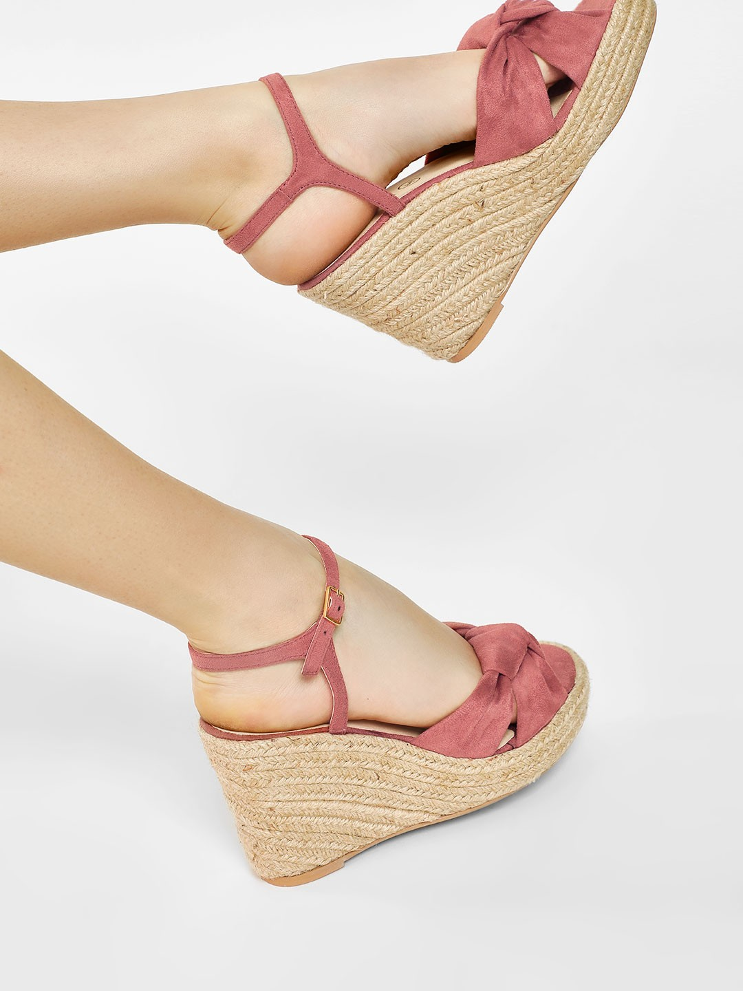 KOOVS Blush Knotted Strap Wedges 1