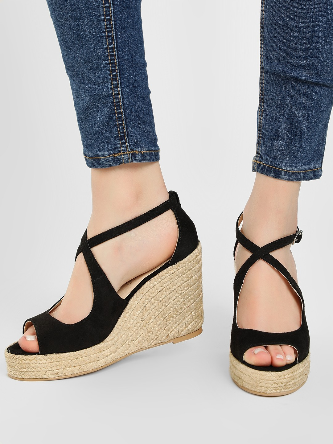 KOOVS Black Cross Strap Espadrille Wedges 1