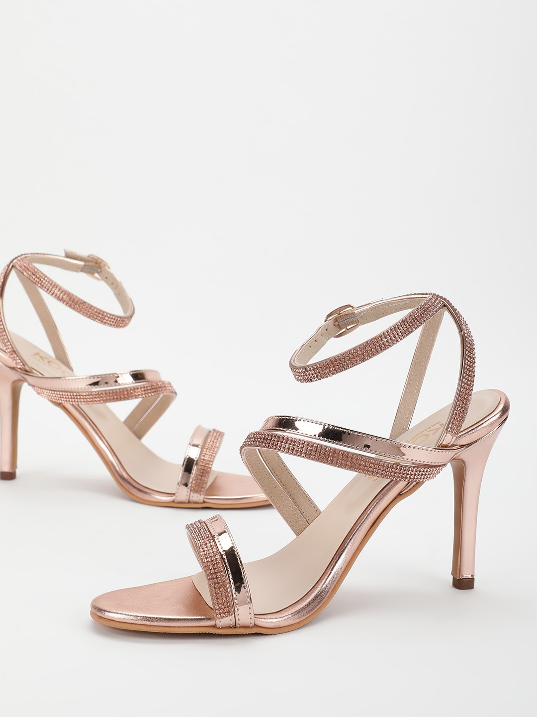 KOOVS Rose Gold Diamante Embellished Heeled Sandals 1