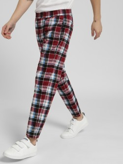 KOOVS Plaid Check Slim Trousers