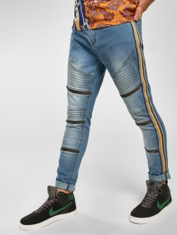 K Denim Side Tape Panelled Skinny Jeans